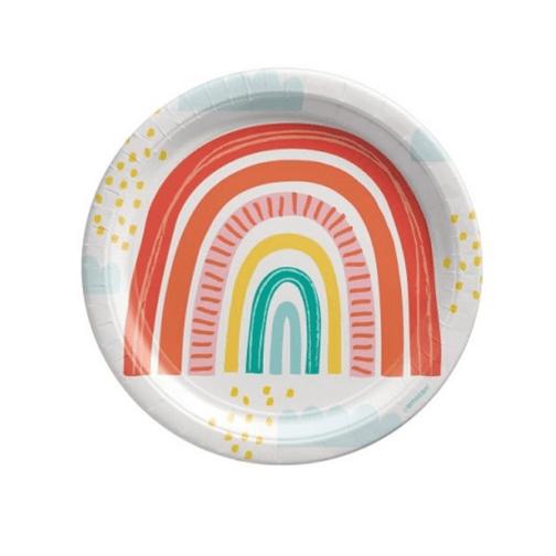 Χάρτινα Πιάτα – Retro Rainbow <br>(8 τμχ)