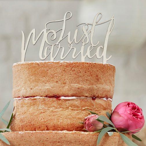 Ξύλινο Διακοσμητικό για Τούρτα «Just Married»