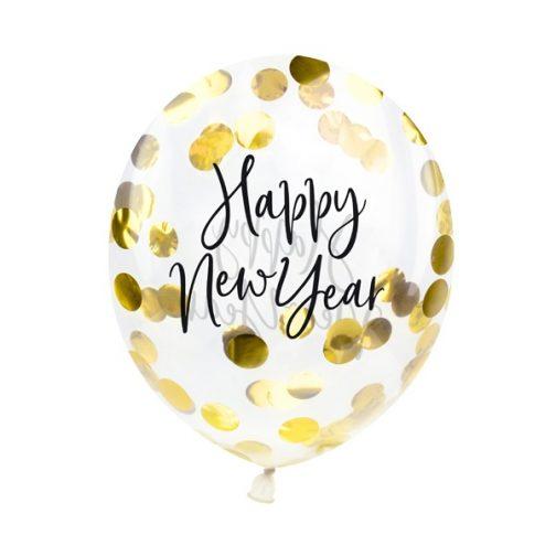 Μπαλόνια με κομφετί – <br>Happy New Year (3 τμχ)