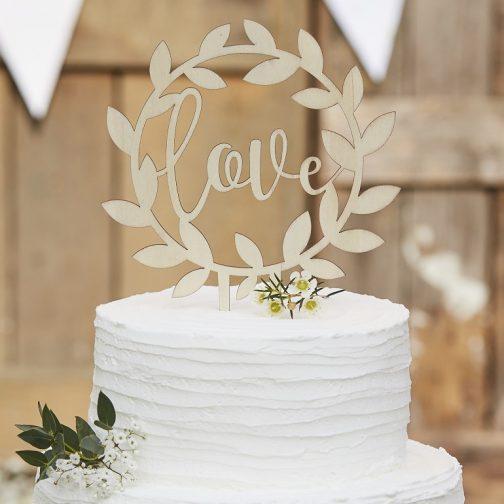 Ξύλινο Διακοσμητικό για Τούρτα «Love»