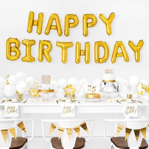 Μπαλόνια σετ foil Happy Birthday – Χρυσό