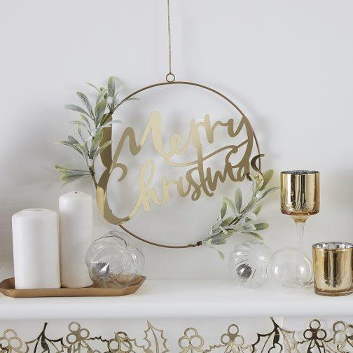 """Στεφάνι """"Merry Christmas"""" – <br> Χρυσό Μεταλλικό"""