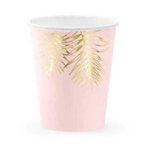 Χάρτινα Ποτήρια – Ροζ Με Χρυσά Φύλλα (6 τμχ)