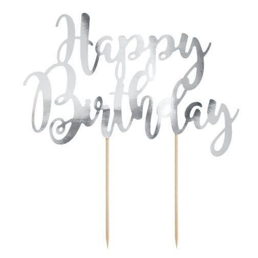 Διακοσμητικό Τούρτας Χάρτινο – <br>Happy Birthday (ασημί)