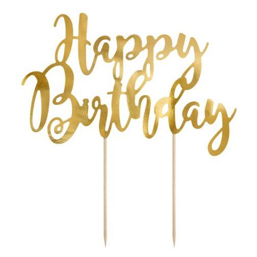 Διακοσμητικό Τούρτας Χάρτινο – <br>Happy Birthday (χρυσό)