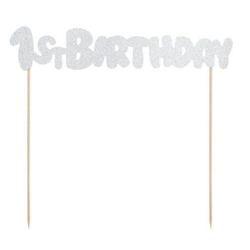 Διακοσμητικό Τούρτας – <br>1st Birthday (ασημί)