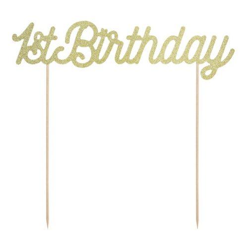 Διακοσμητικό Τούρτας – <br>1st Birthday (χρυσό)