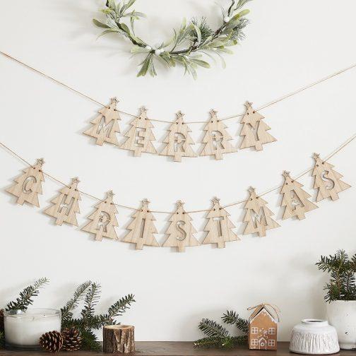 Ξύλινη Γιρλάντα – Merry Christmas Έλατα