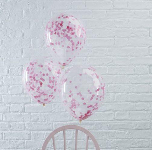 Μπαλόνια με ροζ κομφετί <br> (5 τμχ)