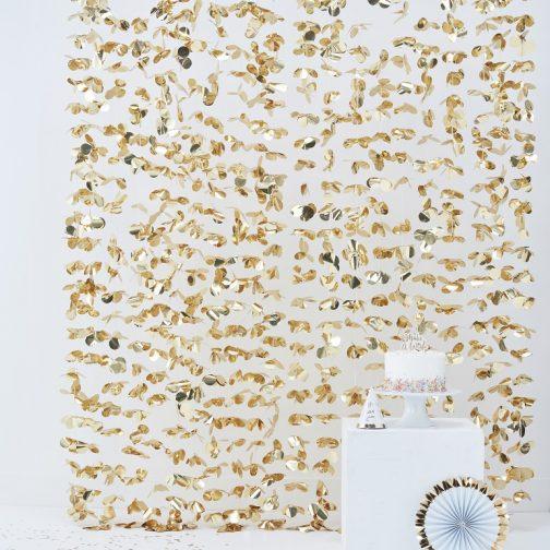 Διακοσμητική Κουρτίνα από Χρυσά Foil Λουλούδια