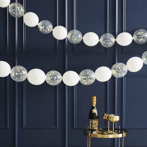 Γιρλάντα Λευκά Μπαλόνια και Μπαλόνια με Χρυσά Κομφετί (24)