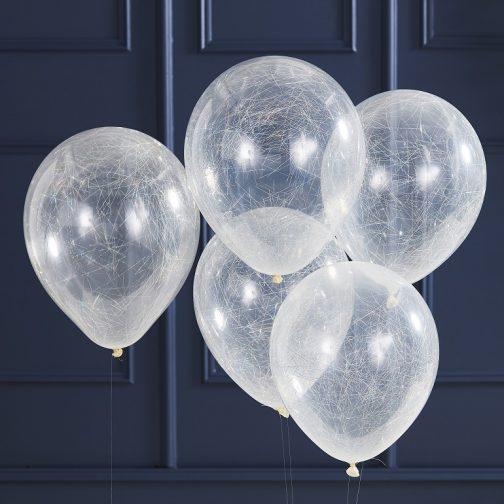 Μπαλόνια με ασημί κλωστές <br> (5 τμχ)