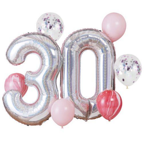 Μπαλόνια σετ – 30α γενέθλια <br> -ύψος ~1μ. (8 τμχ)