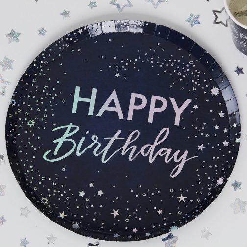 Χάρτινα Πιάτα – Happy Birthday Ιριδίζον (8 τμχ)