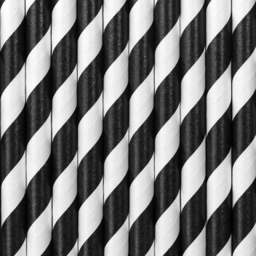Χάρτινα Καλαμάκια Ριγέ Μαύρο – Άσπρο (10 τμχ)