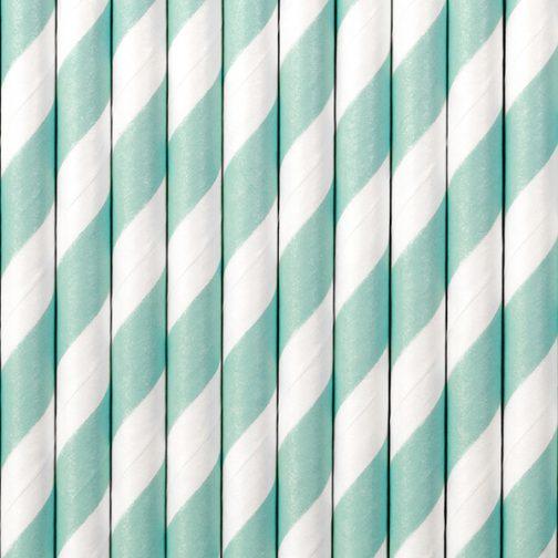 Χάρτινα Καλαμάκια Ριγέ Γαλάζιο – Άσπρο (10 τμχ)