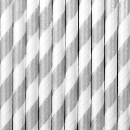 Χάρτινα Καλαμάκια Ριγέ Ασημί – Άσπρο (10 τμχ)