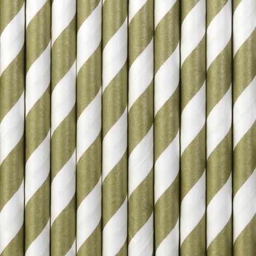 Χάρτινα Καλαμάκια Ριγέ Χρυσό – Άσπρο (10 τμχ)