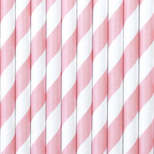 Χάρτινα Καλαμάκια Ριγέ Ροζ – Άσπρο (10 τμχ)