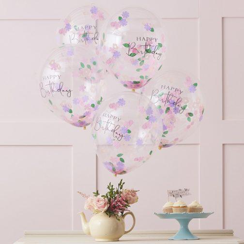 Μπαλόνια Happy Birthday Με Floral Confetti (5 τμχ)