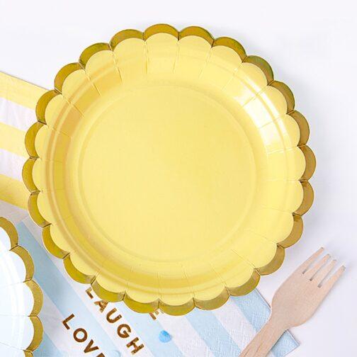 Χάρτινα Πιάτα Γλυκού – Κίτρινα <br>(6 τμχ)