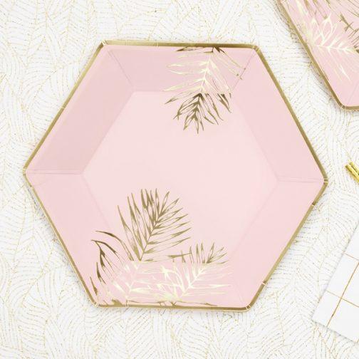 Χάρτινα Πιάτα – Ροζ Με Χρυσά Φύλλα (6 τμχ)