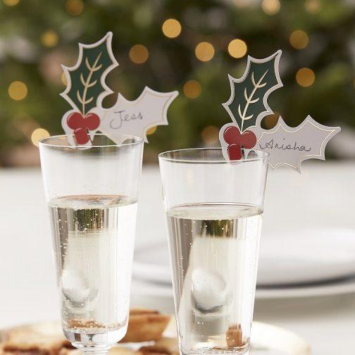 Διακοσμητικές Ετικέτες Ποτηριών<br> – Γκι (12 τμχ)