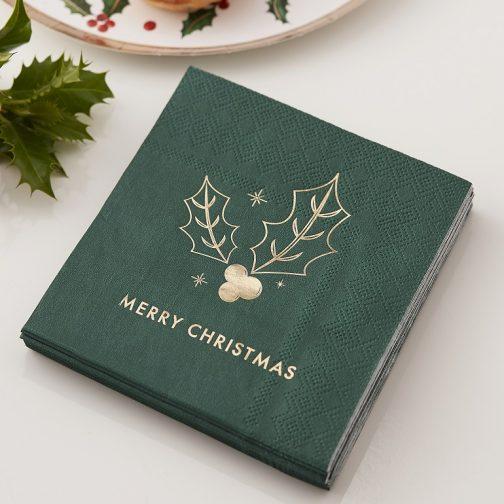 Χαρτοπετσέτες – Merry Christmas <br>Με Χρυσό Γκι (16 τμχ)