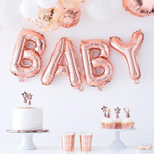 Μπαλόνια σετ BABY <br> – ροζ χρυσό