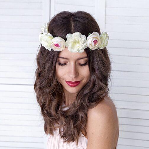 Στεφάνι Μαλλιών Με Λευκά Λουλούδια