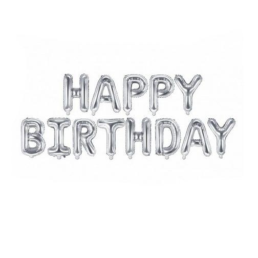 Μπαλόνια σετ foil Happy Birthday – Ασημί