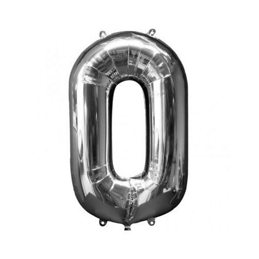 Μπαλόνι Αριθμός 0 ασημί – 88cm
