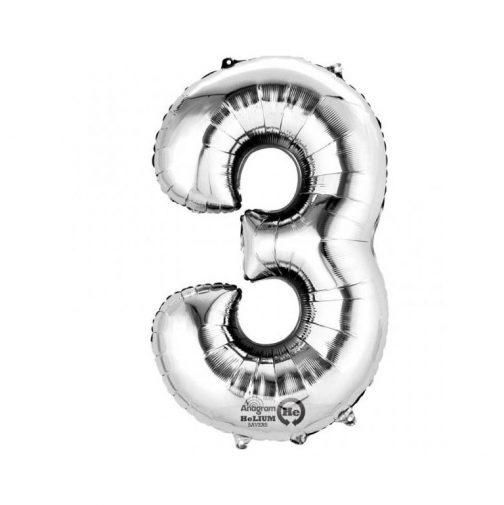 Μπαλόνι Αριθμός 3 ασημί – 86cm