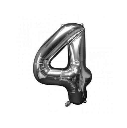 Μπαλόνι Αριθμός 4 ασημί – 86cm