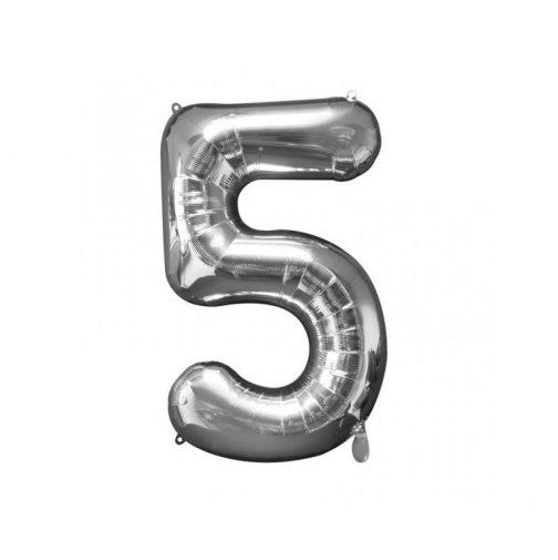 Μπαλόνι Αριθμός 5 ασημί – 86cm