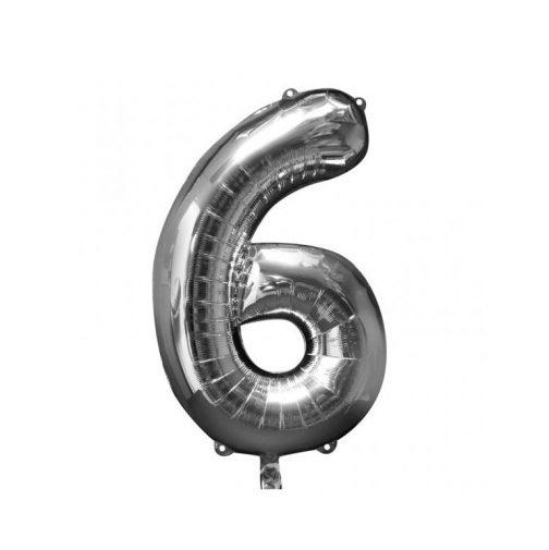 Μπαλόνι Αριθμός 6 ασημί – 88cm