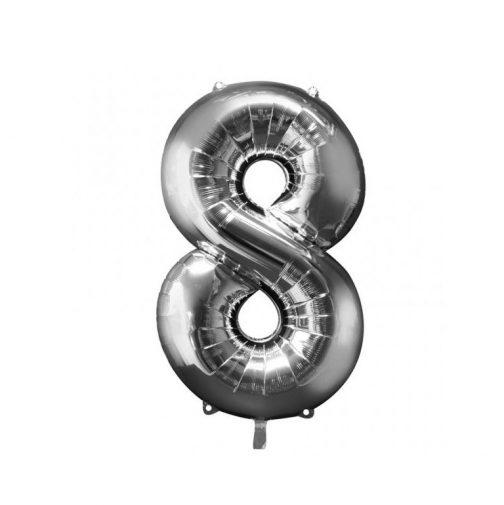 Μπαλόνι Αριθμός 8 ασημί – 88cm