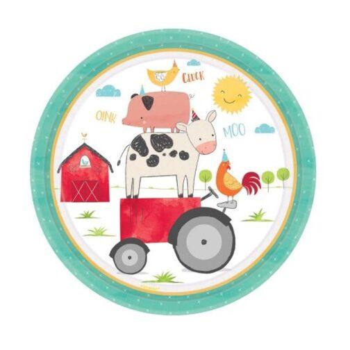 Χάρτινα Πιάτα – <br>Ζωάκια Της Φάρμας (8 τμχ)