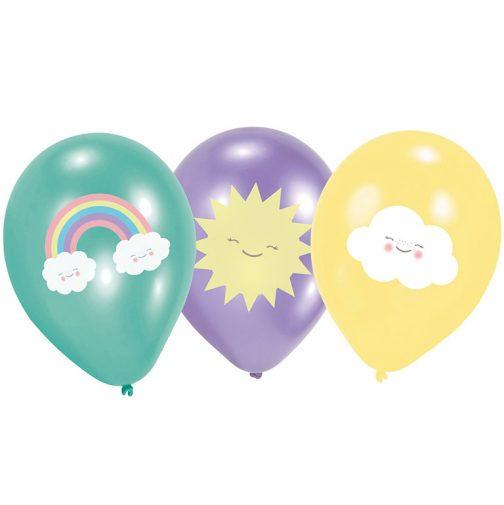 Μπαλόνια latex – Ουράνιο Τόξο  <br> (6 τμχ)