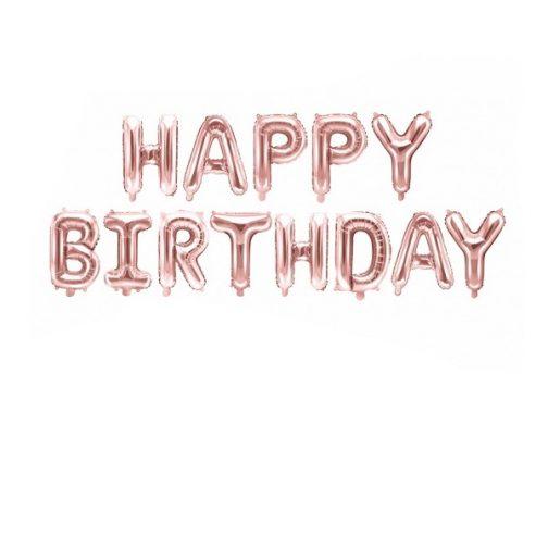 Μπαλόνια σετ foil Happy Birthday – Ροζ Χρυσό