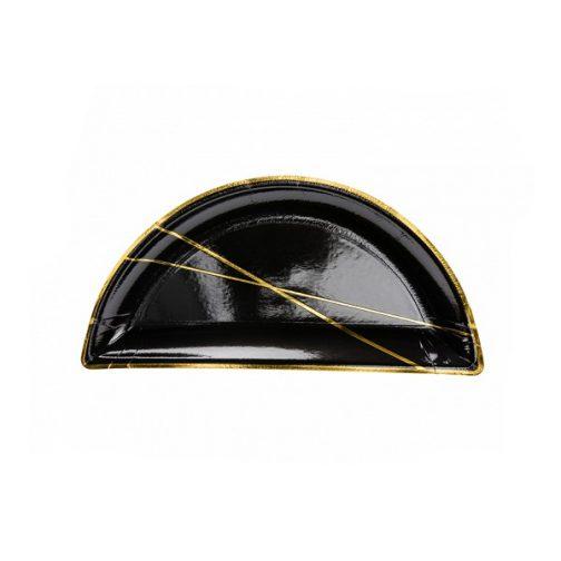 Χάρτινα Πιάτα Γλυκού – <br>Μαύρο Χρυσό (6 τμχ)