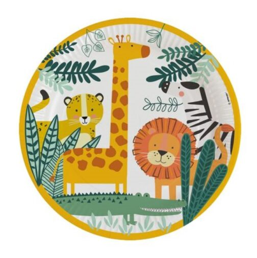 Χάρτινα Πιάτα – <br>Ζωάκια Της Ζούγκλας (8 τμχ)