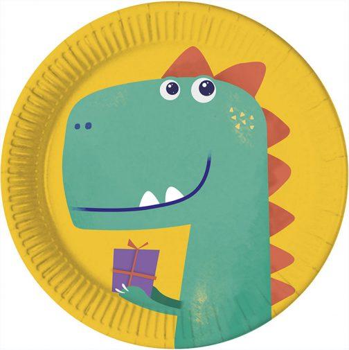 Χάρτινα Πιάτα – Δεινόσαυροι Eco <br> (8 τμχ)