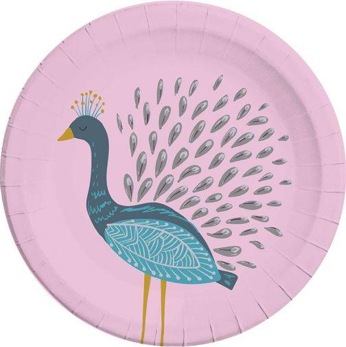 Χάρτινα Πιάτα – Παγώνι (8 τμχ)